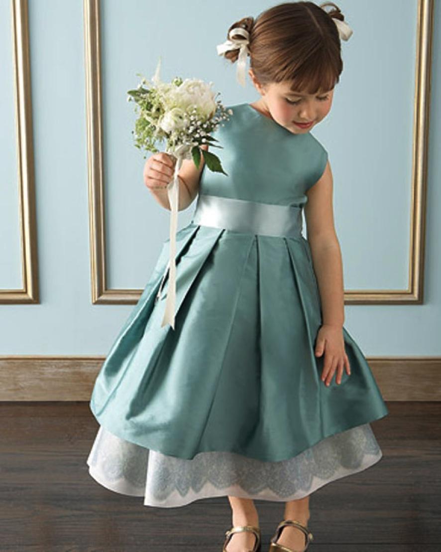 Vestido para daminha verde cinzento