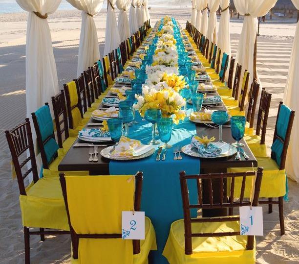 decoracao festa infantil azul e amarelo:Decoração para casamento nas paletas de cores azul e amarelo