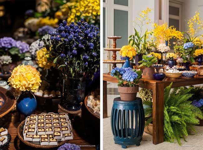 decoracao de casamento azul marinho e amarelo:Decoração para casamento nas paletas de cores azul e amarelo