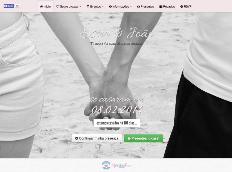 exemplo site de casamento