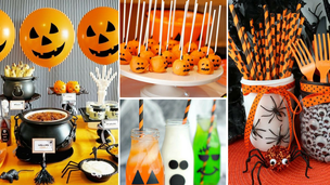 chá de cozinha com o tema halloween