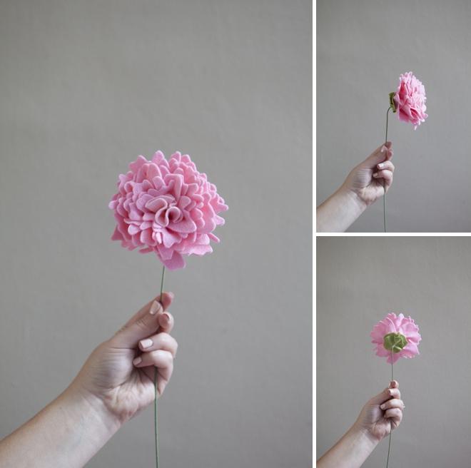 flor em feltro finalizada