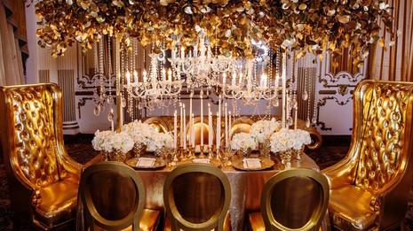 decoração de festa de casamento dourada