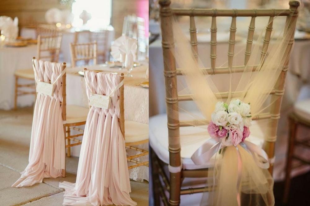 Cadeira dos noivos com tecido