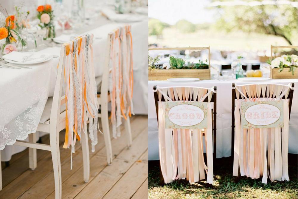 Cadeiras dos noivos com fitas