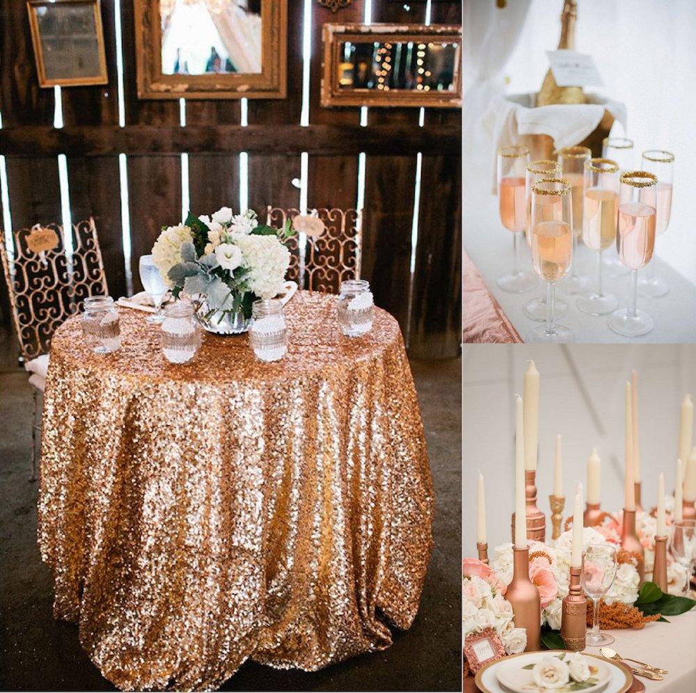 decoração da mesa rosa ouro