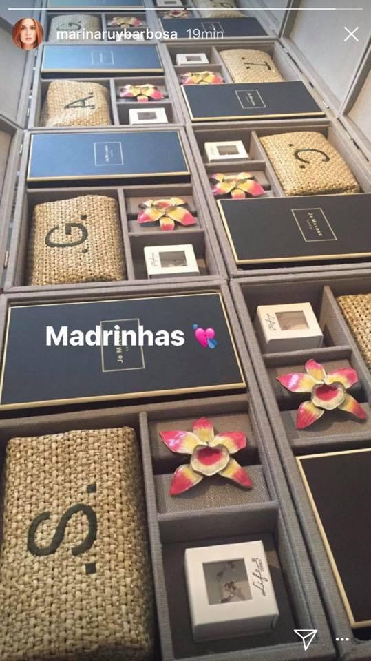 Lembrancinhas das madrinhas de Marina Ruy Barbosa